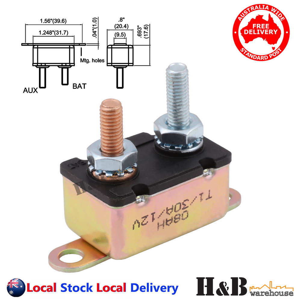 2Pcs 50Amp Stud Bolt Type Car Boat Circuit Breaker with Automatic Auto Reset